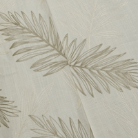 Ivory/Taupe/Multi  Leaf Embroidered Slub Woven Decor Fabric