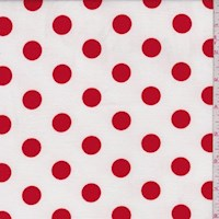 *2 YD PC--White/Red Polka Dot Double Brushed Jersey Knit
