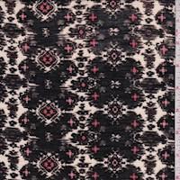 *1 1/4 YD PC--Black/Ivory Ikat Medallion Rayon Jersey Knit