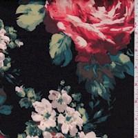 *1 1/4 YD PC--Black/Taupe/Coral Multi Floral Scuba Knit
