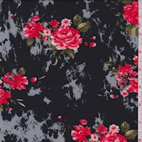 *1 1/4 YD PC--Black/Grey/Red Marble Floral ITY Knit