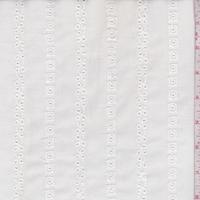 *1 1/8 YD PC--White Eyelet Deco Stripe Cotton