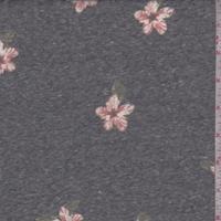 *3 YD PC--Stone Black Dogwood Floral Slub Jersey Knit