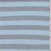 *2 YD PC--Pale Blue/Grey Stripe Tissue Jersey Knit