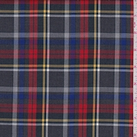 *3 YD PC--Charcoal/Red/Blue Plaid Flannel