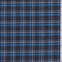 *3 YD PC--Black/Royal Plaid Flannel