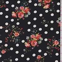 *2 YD PC--Black Dot Floral Double Brushed Jersey Knit