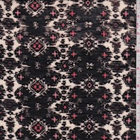 *2 YD PC--Black/Ivory Ikat Medallion Rayon Jersey Knit