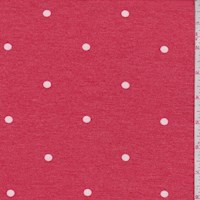 *3/4 YD PC--Pale Red Dot Brushed French Terry Knit