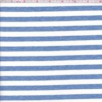*2 1/2 YD PC--Heather Blue/White Stripe Jersey Knit