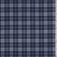 *1 3/8 YD PC--Navy Blue Plaid Shirting