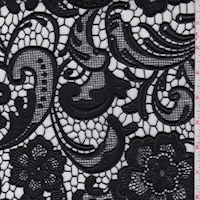 Black Floral Scroll Guipure Lace