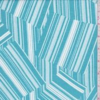 Dark Turquoise Linear Block Crepe Georgette