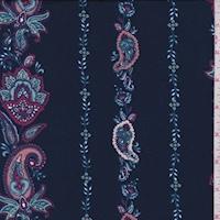 ITY Dark Navy Stylized Paisley Stripe Jersey Knit