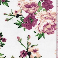 White/Mulberry Dogwood Double Brushed Jersey Knit
