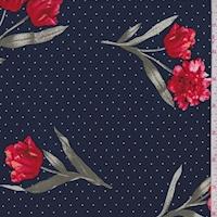 ITY Navy Pin Dot Floral Jersey Knit