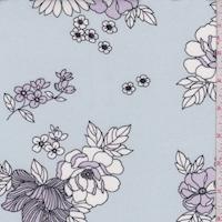 Misty Blue/Lavender Floral Double Brushed Jersey Knit