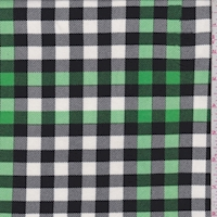 Green/White/Black Twill Check Double Brushed Jersey Knit