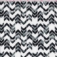 White/Black/Nickel Chevron Stripe Double Brushed Jersey Knit