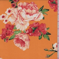 Papaya/Coral Floral Double Brushed Jersey Knit
