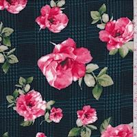 Teal/Pink Glen Plaid Floral Double Brushed Jersey Knit