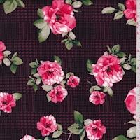Magenta/Pink Glen Plaid Floral Double Brushed Jersey Knit