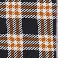 Black/Harvest/White Plaid Double Brushed Jersey Knit