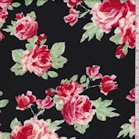 Black/Red Rose Cluster Scuba Knit