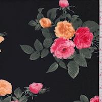 Black/Apricot Rose Cluster Scuba Knit