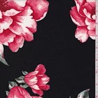 Black/Pale Red Peony Scuba Knit