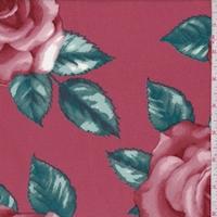 Red Copper Rose Bloom Scuba Knit