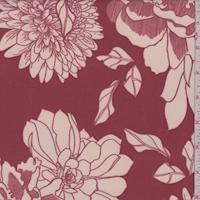 Copper/Ivory Sketch Floral Scuba Knit