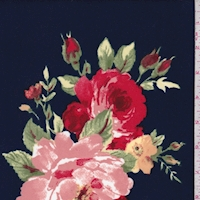 Dark Navy Multi Floral Bouquet Scuba Knit
