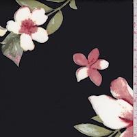 Black/White Dogwood Floral Scuba Knit
