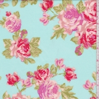 Spa Blue/Day Glo Rose Cluster Scuba Knit