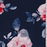 Ink Blue Shadow Floral Scuba Knit