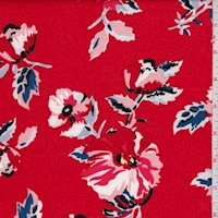 Red Multi Cosmo Floral Scuba Knit