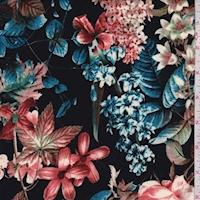 Onyx/Blue/Rust Floral Garden Scuba Knit