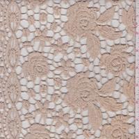 Sandy Beige Floral Guipure Lace