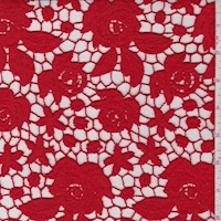 Cherry Red Floral Guipure Lace