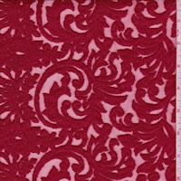 Cranberry Embroidered Scroll Tulle