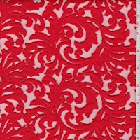 Bright Red Embroidered Scroll Tulle