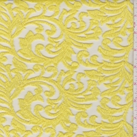 Lemon Yellow Embroidered Scroll Tulle