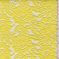 Lemon Yellow Embroidered Stylized Floral Tulle