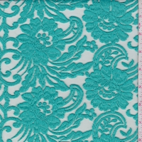 Turquoise Embroidered Stylized Floral Tulle