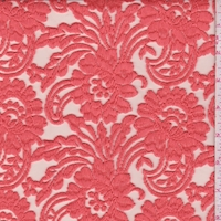 Coral Orange Embroidered Stylized Floral Tulle