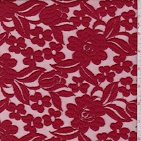 Cranberry Embroidered Floral Tulle