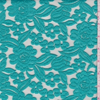 Turquoise Embroidered Floral Tulle
