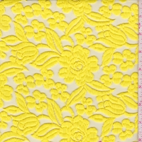 Lemon Yellow Embroidered Floral Tulle