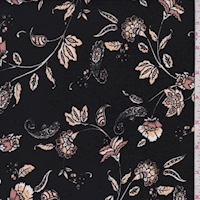 Black/Gold Stylized Floral Double Brushed Jersey Knit